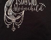 Kids black stay wild moonchild shirt