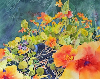 Nasturtiums at Midsummer Note Card