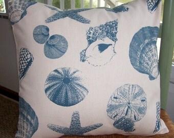 "Pillow Cover Beach sea shells 18"" blue ivory coastal cottage starfish shabby tropical"