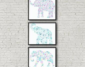 Set of 3 Elephant Images