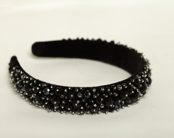 Black beaded headband Black hair accessory Black crystal crown Gothic crown Beaded headband Black hair accessory Black beaded crown