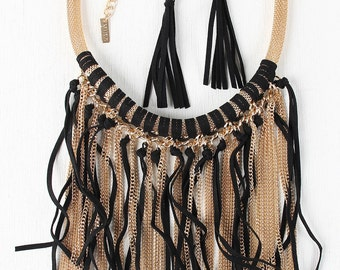Chain and suede fringe mesh tube necklace - black