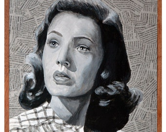 """Gene Tierney is Laura Hunt in """"Laura"""". Otto Preminger, 1944. 9.8""""x9.8""""x2.3"""". Acrylic and collage on boad."""