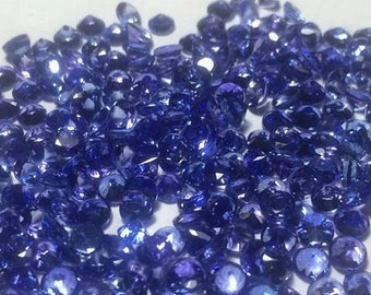 50 Pieces 2mm Tanzanite Faceted Round AAA+ Quality Calibrated Size Loose Gemstone Wholesale 100% Natural Tanzanite Round Faceted Gemstone