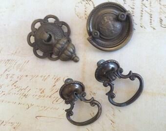 4  Piece Antique Brass Vintage Hardware - Ring Pulls