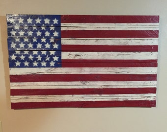 Wooden American Flag Red White Blue