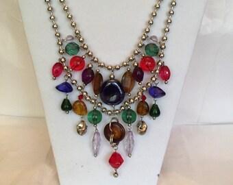 Multi Color Beaded Large Bib Necklace