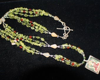 Peridot and Carnelian Bead Necklace
