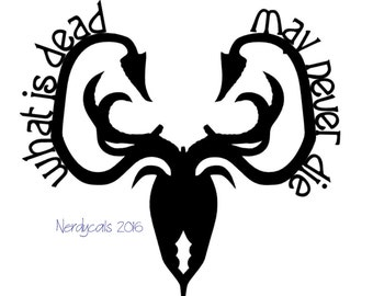 Game of Thrones Greyjoy House Crest Sigil What Is Dead May Never Die GoT Vinyl Graphic Car Window Decal Sticker