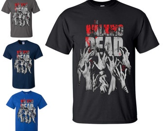 Mens The Walking Dead Logo T Shirt TV Series Inspire Hands Reaching Ziombie Tee Top Different Colors S - 5XL