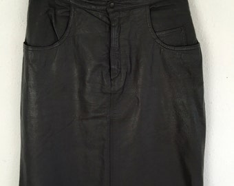 Vintage 80's Long leather skirt Size 12