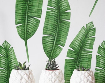Banana leaf Wallpaper, Removable Wallpaper, Self-adhesive Wallpaper, Tropical Wall Décor, Jungle Wallcovering - JW034