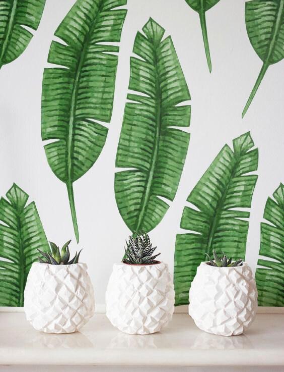 Banana leaf Wallpaper Removable Wallpaper Self-adhesive
