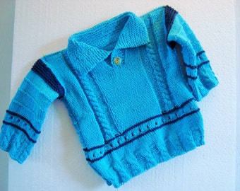 Sweater Aqua young baby toddler blue turquoise collar