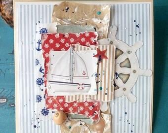 Handmade card, Nautical card, Beach theme card, Greeting Card