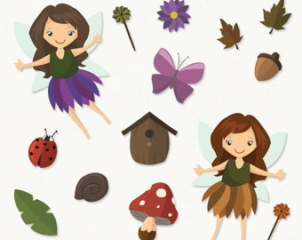 50% OFF Fairy Forest Clipart Set, fairy clip art images, fairy vector, fairy digital art, forest, commercial use with Instant Download
