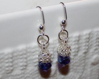 Shiny beaded handmade beaded-ball crystal earrings; beadweaving