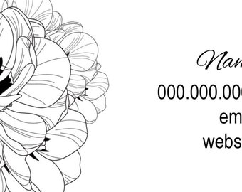 Black & White Floral Business Card