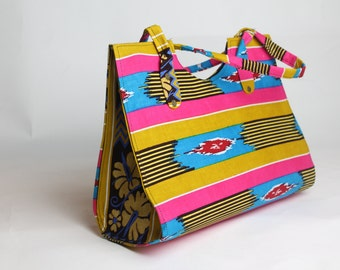 Handmade Fuchsia Hot Pink, Golden Yellow, Black & White Striped Handbag