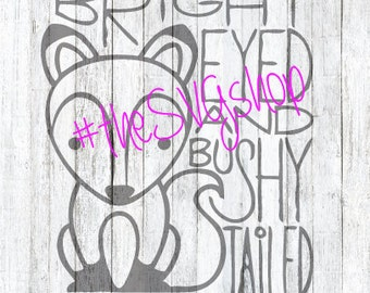 SVG, DXF, and PNG File, Bright Eyed and Bushy Tailed Fox, Fox svg, baby suit diy
