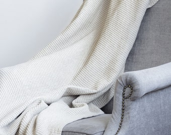 Natural Linen Grey and White Waffle Throw / Blanket
