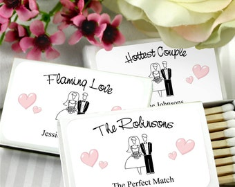 Wedding Favor Matches, Personalized Bride & Groom Matchboxes, Wedding Matches, The Perfect Match -  Set of 50, Unassembled (White Box)