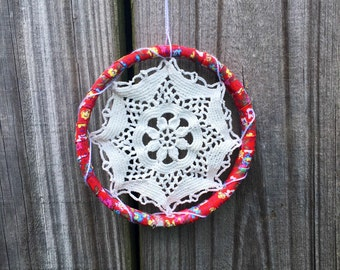 Sale Little Red Floral Doily Wall Decor