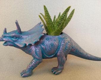 Hand Refinished, Repurposed Toy Dinosaur Planter