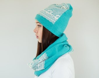 Turquoise Blue Hat + Scarf Set / Womens Scarves / Slouchy Beanie Hat / Turquoise Blue Infinity Scarf / Womens Hats // Turquoise Pastels