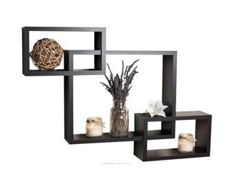 DecorNation Wall Mounted Shelf Set of 3 Floating Intersecting Storage Display Wall Shelves - Black