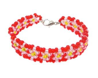 Kids flower bracelet - bracelets #2 - pink / red (BS-1328)