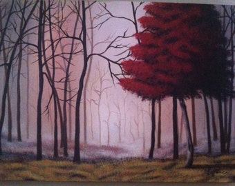 Acrylic painting - red tree