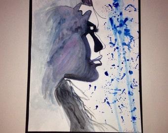 "Self portrait watercolor painting 11""x 8.5"""