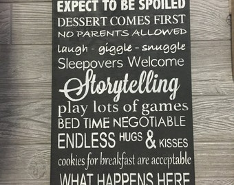 Grandparents' house rules sign, wood sign, wall art, Grandparent Rules, Gifts for Grandparents, Nana and Papa Sign, decor, wall plaque,