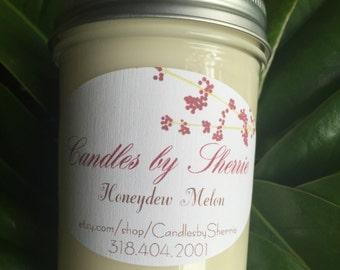 Soy Candle Honeydew Melon  8 oz.