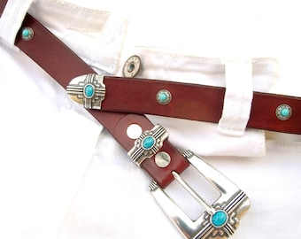 Womens leather belt, Native style leather belt with turquoise buckle and rivets, British tan color, Handmade belt, Women/ Man leather belt