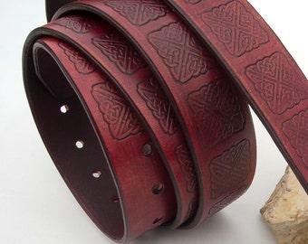 Mens leather belt, Hand dyed and stamped leather belt, Dark burgundy color leather belt, Rustic belt