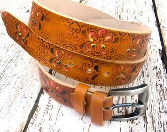 Womens leather belt, Hippie leather belt, Gipsy leather belt, Flower design leather belt, Ethnic leather belt, Embossed belt