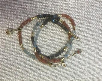 Sundance style Gemstone wrap bracelet or necklace