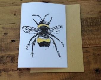 Hand printed Bee Notecard