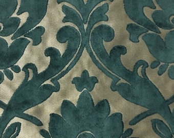 Upholstery Fabric - Radcliffe - Azure - Lurex Burnout Velvet Damask Upholstery, Drapery & Pillow Fabric by the Yard - Available in 23 Colors