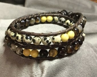 Original handmade stone leather wrap bracelet, chan luu style fashion jewelry, bohemian wrap bracelet, boho