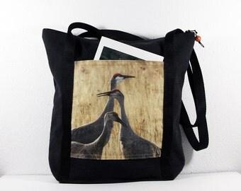 Heavy Cotton Tote with Bosque del Apache Two Cranes Calling Photo Print