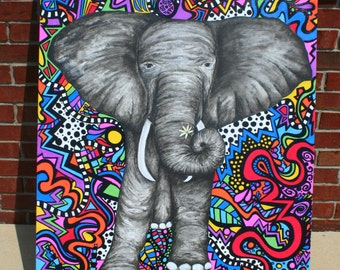 Abstract Elephant Painting - Elephant Painting - Original