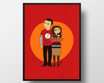 Sheldon y Amy illustration. The Big Bang Theory poster print. Decor home, wall art, print illustration, art print, Shamy printed art.