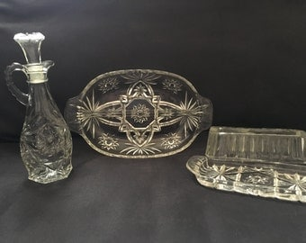 Vintage Anchor Hocking Star of David decanter, butter dish, and relish tray