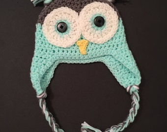 Crocheted Owl hat 3-6m