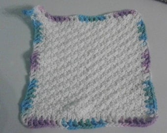 Hand knit cotton washcloth