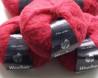 Raspberry yarn, merino yarn, mohair yarn, yarn lot, cheap yarn, knitting yarn, crochet yarn, red yarn, pink yarn, medium yarn, Lana Grossa