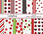 Ladybug digital paper pack - 15 printable jpeg papers, 3600x3600 px, 300 dpi - ladybug backgrounds, floral pattern and ladybug paper